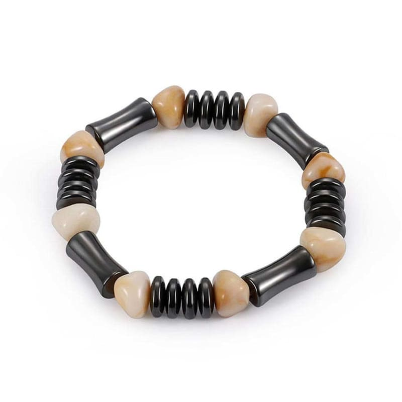Weight Loss Magnetic Therapy Round Black Stone Bracelet - Design16 - Charm Bracelets