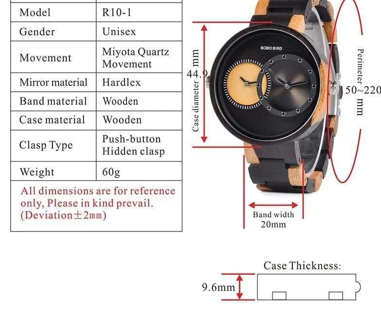 Wooden Watch Quartz 2 Time Zone For Men and Women - Watches