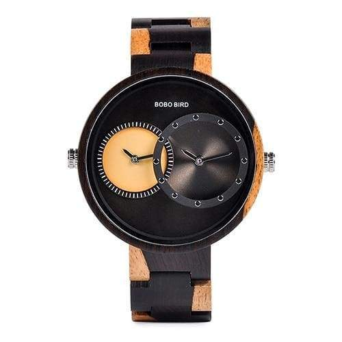 Wooden Watch Quartz 2 Time Zone For Men and Women - W-R10-1 - Watches