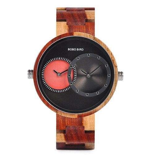 Wooden Watch Quartz 2 Time Zone For Men and Women - W-R10-2 - Watches