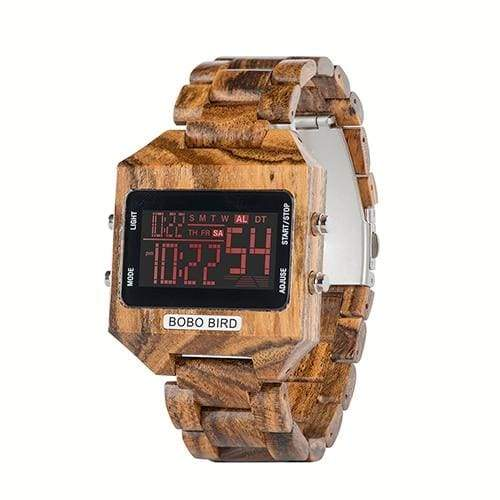 Wooden Watch with LED Digital For Men and Women - W-s30-2 - Watches