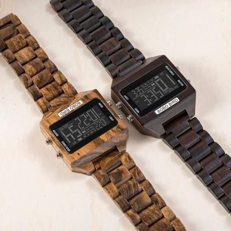 Wooden Watch with LED Digital For Men and Women - Watches
