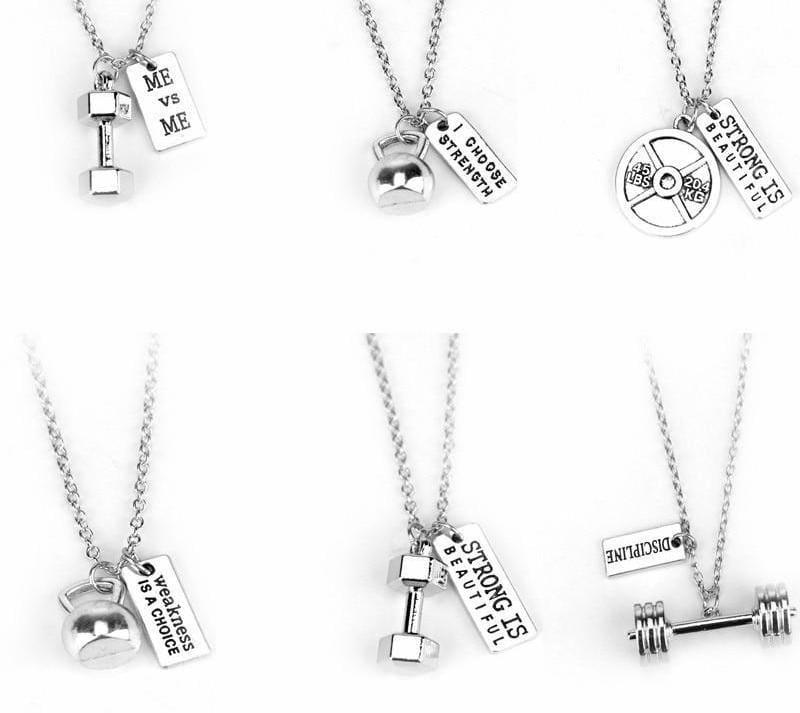 Dumbbell Necklace Pendant - Pendant Necklaces
