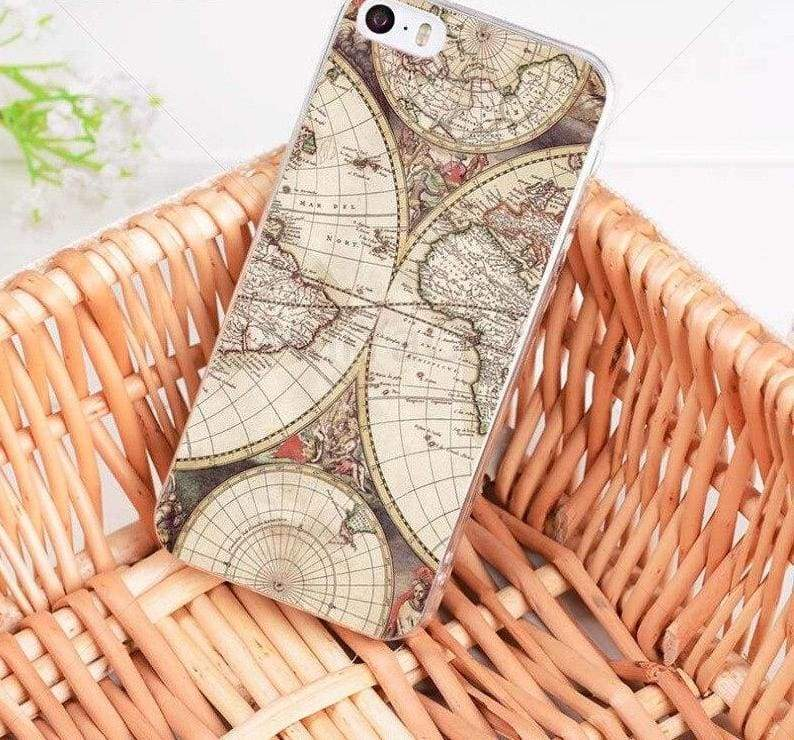 World Map Travel Plans iphone case - 7 / For iPhone 8 - Half-wrapped Case