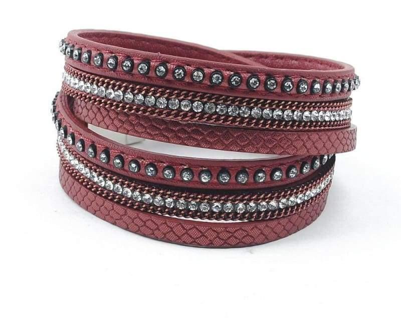 Wrap Leather Bracelet - dark red - Wrap Bracelets