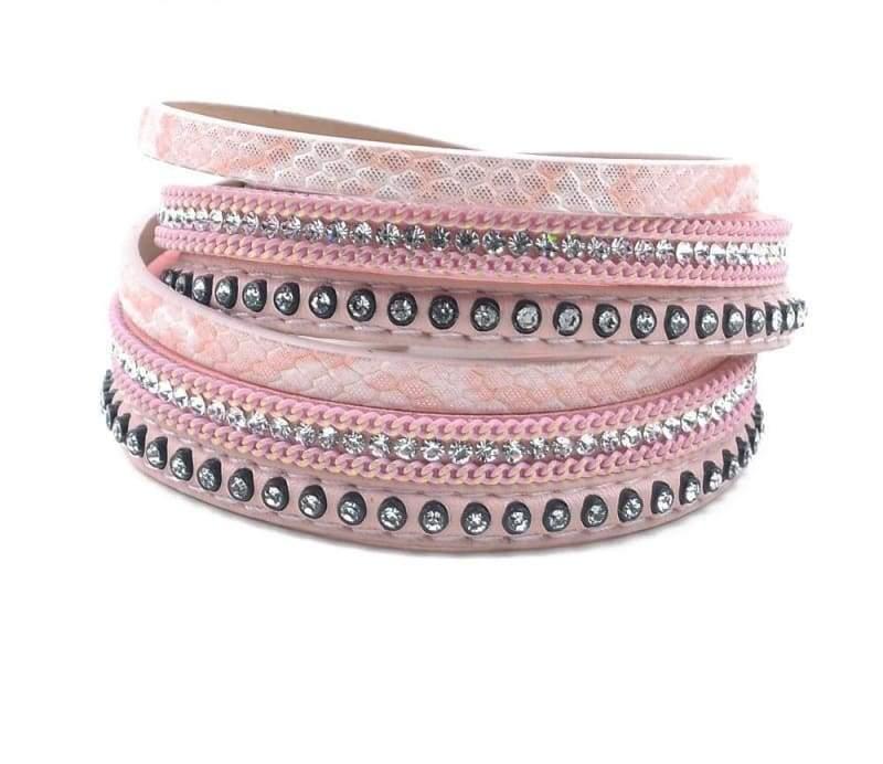 Wrap Leather Bracelet - pink - Wrap Bracelets