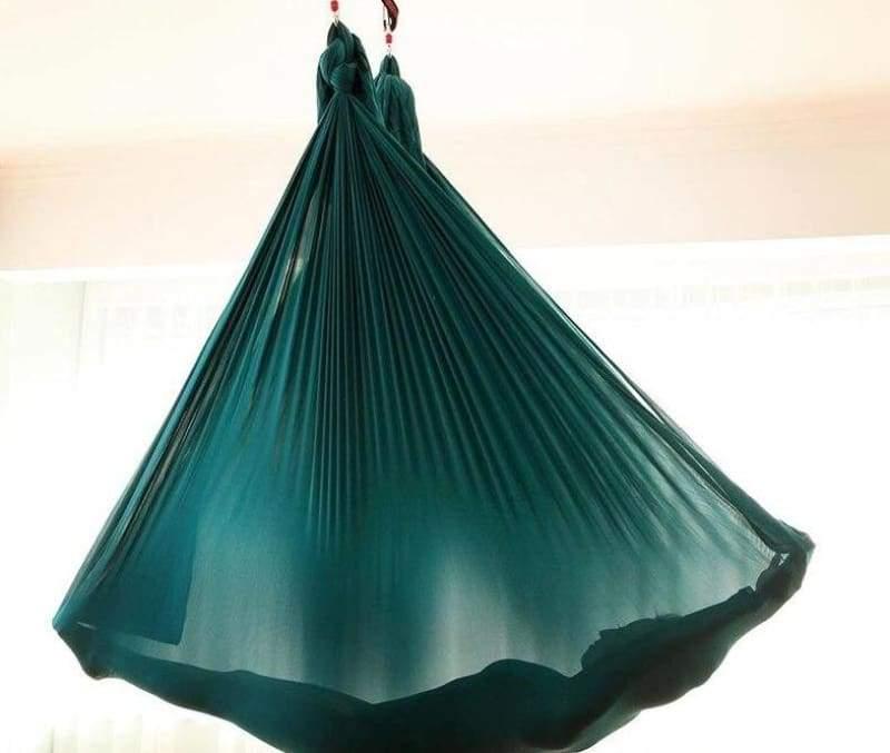 Yoga Hammock Aerial Flying Swing - Green - Gym Fitness
