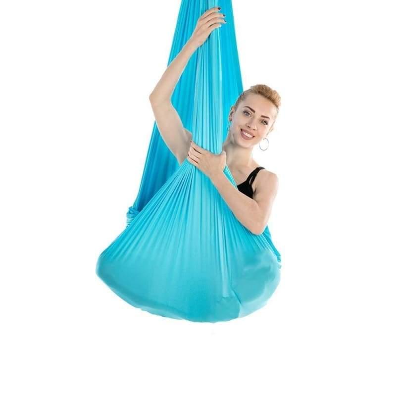 Yoga Hammock Aerial Flying Swing - Sky Blue - Gym Fitness