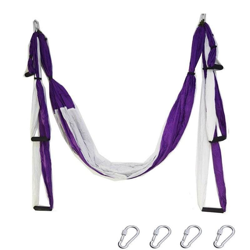Yoga Hammock Anti-gravity Swing Parachute - purple white - Gym Fitness