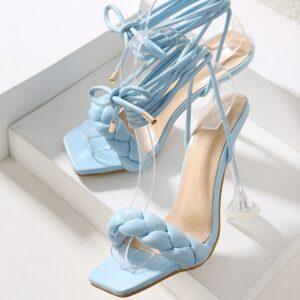 High heels Ladies Sandals Open Toe Shoes New Summer Fashion Design Weave Women Sandals Transparent Strange High heels Ladies Sandals Open Toe Shoes